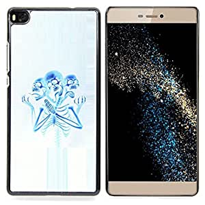 - Skeleton Praying Blue White Spooky - - Snap-On Rugged Hard Cover Case Funny HouseFOR HUAWEI P8