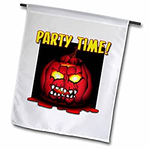 Mark Grace HALLOWEEN pumpkin - ZOMBIE PUMPKIN party time 2 on white - 18 x 27 inch Garden Flag (fl_53374_2)