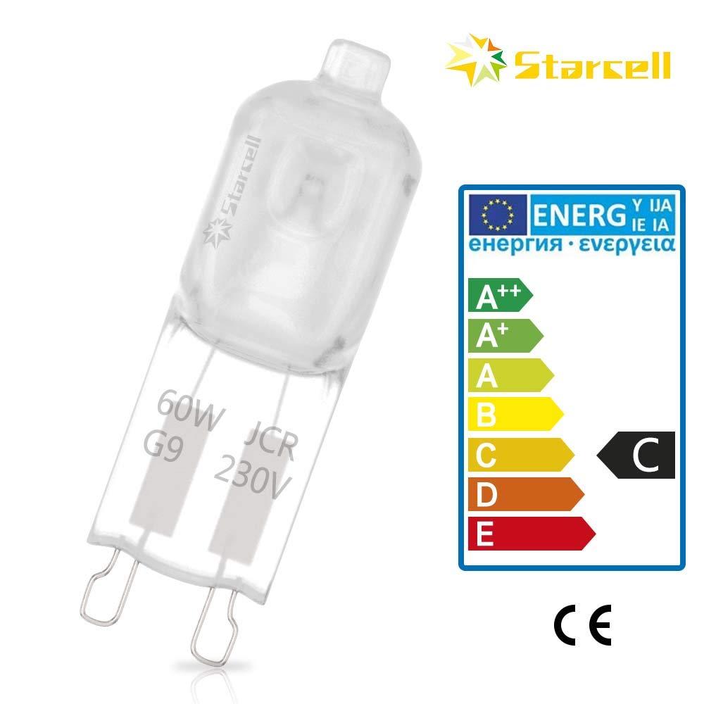 classe energetica C 10 lampadine alogene G9 ECO da 60 W 240 V 60 W dimmerabili 30/% di risparmio energetico Starcell G9 240.0volts