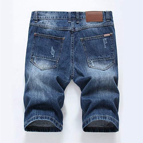 para Vaqueros Slim Pantalones Fit Destruido Longitud Pantalones Blau con Mezclilla Estiramiento Cortos Pantalones De De Chern Dril Agujeros De Ropa De Hombres Rodilla 1 Cortos Algodón Straight Verano w8qt8RY