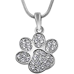 "Adorable Silver Tone Puppy Dog Kitten Cat Animal Crystal Paw Print 3/4"" Charm Necklace Girls Teens Women"