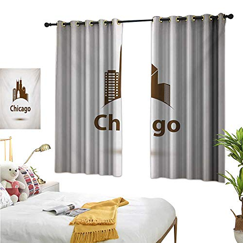 Warm Family Room Curtains Chicago Skyline,USA City Old