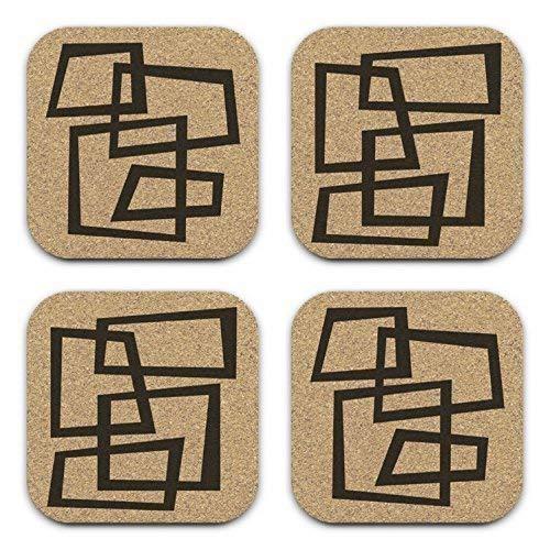 MCM Geometric Abstract Art Cork Coaster Gift Set of 4