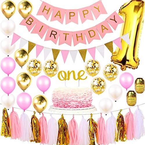 1st Birthday Girl Decorations Premium Party Supplies Set | Princess First Pink n Gold Girls Theme Kit | 1 Year Cake Topper, Happy Birthday Banner Number Mylar Balloon, Metallic Balloons, Paper Decor