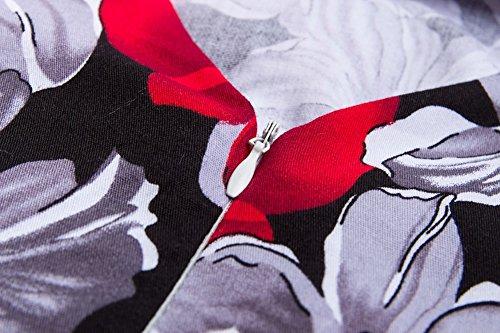 Vestido de Mujer Vintage Retro Swing Rockabilly Coctel Vestidos de Noche Gris Rojo