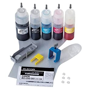 ELECOM 詰替えインク キヤノン BCI-351・350対応5色セット 5回分 THC-351350SET5