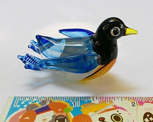 Aquarium MINIATURE HAND BLOWN Art GLASS Swimming Blue Penguin Size SS FIGURINE Collection