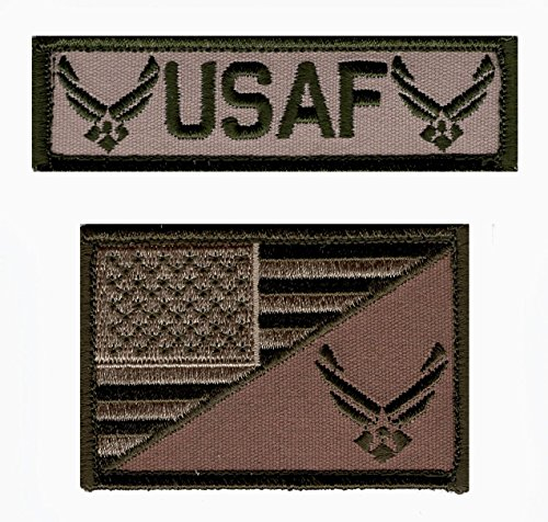 USAF USA Flag USA Air force Logo Embroidered Hook patch BUNDLE (Air Force Patch)