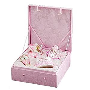 """4-Piece Pink """"Baby's First Christmas"""" Girl Glass Ornament Boxed Gift Set"""