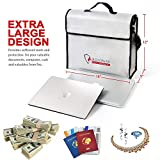 """Fireproof Document & Money Bags, ROLOWAY X Large Fireproof & Water Resistant Bag (15"""" x 12"""" x 5""""), Fireproof Folder Safe Bag for Cash, Valuables, Passport & Jewelry 