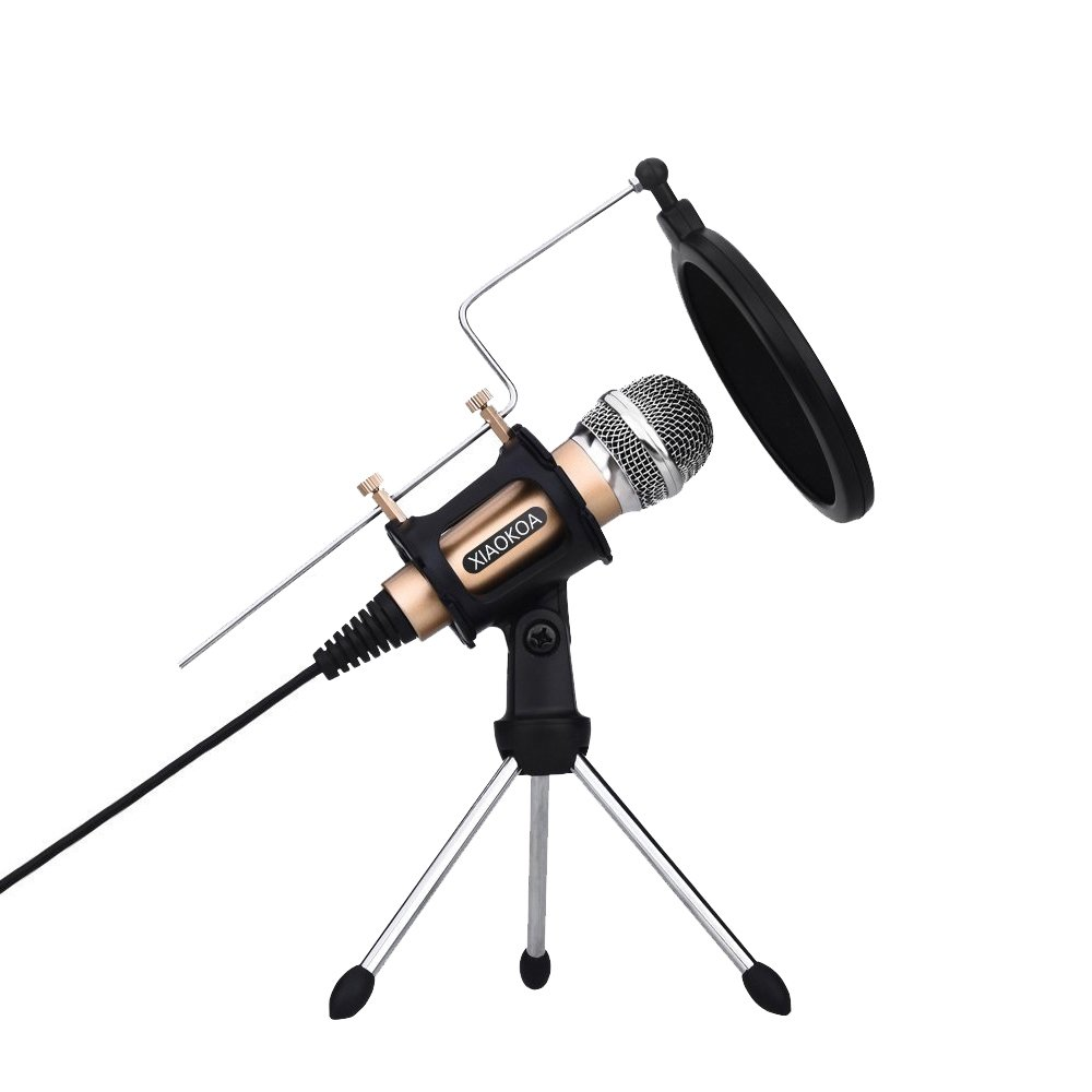 Professional Condenser Microphone, Plug &Play Home Studio microphones for Iphone Android Recording, PC, Computer, Podcasting, Mini Desktop MIC Stand dual-layer acoustic filter (M3-gold) XIAOKOA
