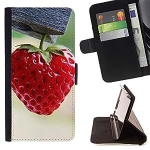 - Strawberry - - Monedero PU titular de la tarjeta de cr????dito de cuero cubierta de la caja de la bolsa FOR Apple Iphone 5C RetroCandy