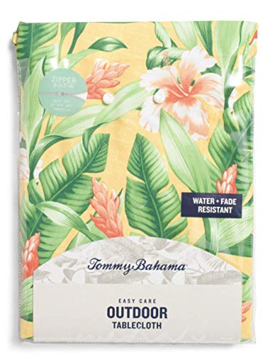 Tommy Bahama Outdoor Tablecloth with Zipper and Umbrella Hole, 70 inch Round Water Repellent Banana Leaves Freeport Tropical - Bahama Tommy Fleece