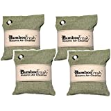 Bamboo Charcoal Air Purifying Bag, 4 Pack 800g Natural Freshener NON-TOXIC Purifier ~ NATURALLY ELIMINATES Odors Allergens & Harmful Pollutants ~ Fragrance Free, Chemical Free ~ ReUse Up To 2 Years