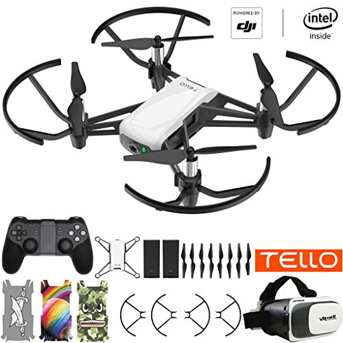 Tello Quadcopter Beginner Drone Powered by DJI Technology VR HD Video Premium Package with Extra Battery Remote Controller VR Goggles and Skin Pack