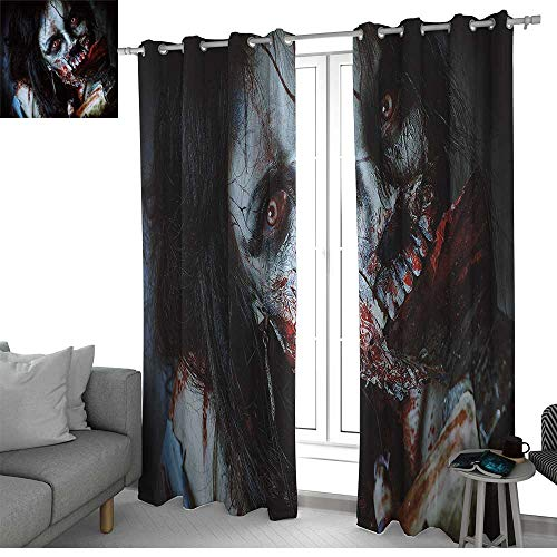 LewisColeridge Window Curtain Fabric Zombie Decor,Scary Dead Woman with Bloody Axe Evil Fantasy Gothic Mystery Halloween Picture,Multicolor,Rod Pocket Curtain Panels for Bedroom & Living Room 84