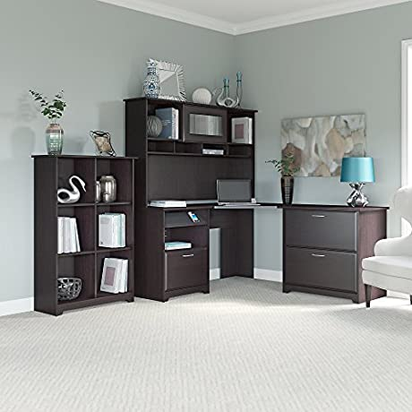 Cabot Corner Desk With Hutch Lateral File Cabinet And 6 Cube Bookcase