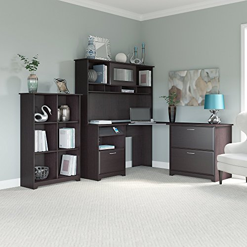 Cabot Corner Desk with Hutch, Lateral File Cabinet and 6 Cube Bookcase by Bush Furniture