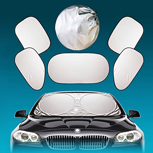 Full Car Windshield Sun Shade -Folding Silvering Reflective Car Window Sun Shade Visor Shield Cove -UV Ray Deflector for Full-Size Sedan / SUV / Jeep / Minivan Vehicle Cool?6 Pieces) (Cove Window)