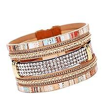 BCDshop Bohemian Women Bracelet, Rhinestones Braided Handmade Wrap Cuff Wristband Bangle Magnetic Clasp