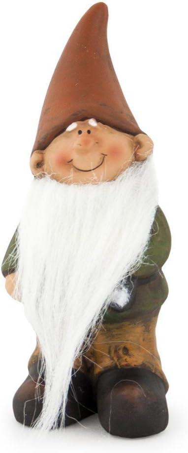 Figura de enano gnomo con barba largo de tono marrón verde, de 15 cm, Jardín Figura enanito de jardín Figura Gnomo para jardín: Amazon.es: Hogar