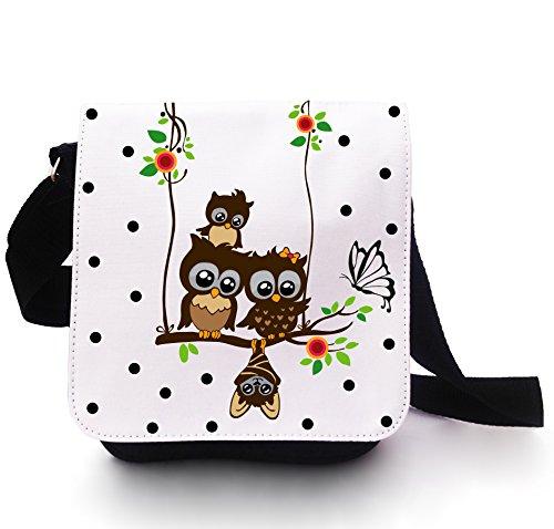 Eulentasche Tasche Kindertasche Handtasche Schultasche Schultertasche Eulen auf Schaukel mit Schmetterling weiß schwarz gepunktet kt107