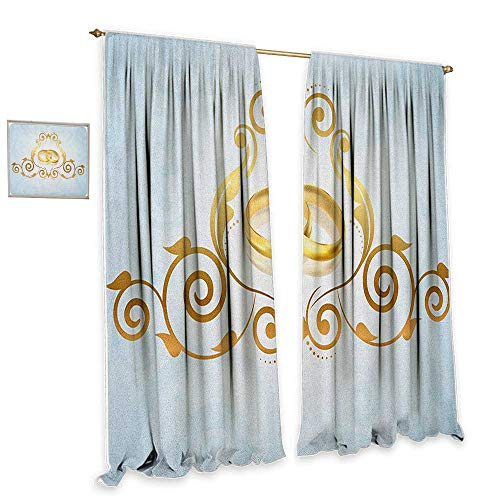 cobeDecor Wedding Simple Curtain Vintage Style Victorian Ornaments on Blue Backdrop Rings Classical Celebration Darkening and Thermal Insulating 55