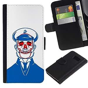Planetar® Modelo colorido cuero carpeta tirón caso cubierta piel Holster Funda protección Para Samsung Galaxy S6 / SM-G920 ( Sailor Blue Skull Red White Beard )