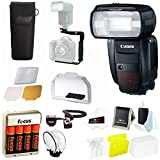 Canon Speedlite 600EX-RT Flash w/ 4 High Capacity AA Rechargeable Batteries & Rotating Flash Bracket Bundle