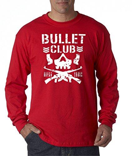 New Way 786 - Unisex Long-Sleeve T-Shirt Bullet Club Skull Bone Soldier Japan Pro Wrestling Medium Red