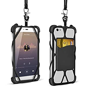 2 in 1 Phone Lanyard Universal 4'' to 6'' Silicone Case Detachable Adjustable Neck Strap for iPhone 7/7 Plus/6/6 Plus/5/Samsung Note 4 5/BLU R1 HD/ LG/ HTC/ Huawei