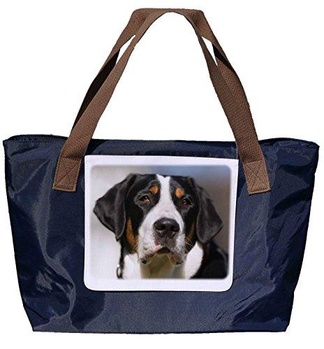 Shopper /Schultertasche / Einkaufstasche / Tragetasche / Umhängetasche aus Nylon in Navyblau - Größe 43x33cm - Motiv: Grosser Schweizer Sennehund Porträt - 01