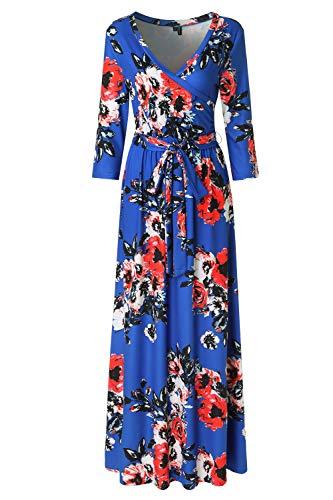 Zattcas Womens 3/4 Sleeve Floral Print Faux Wrap Long Maxi Dress with Belt (XX-Large, Cobalt-1)