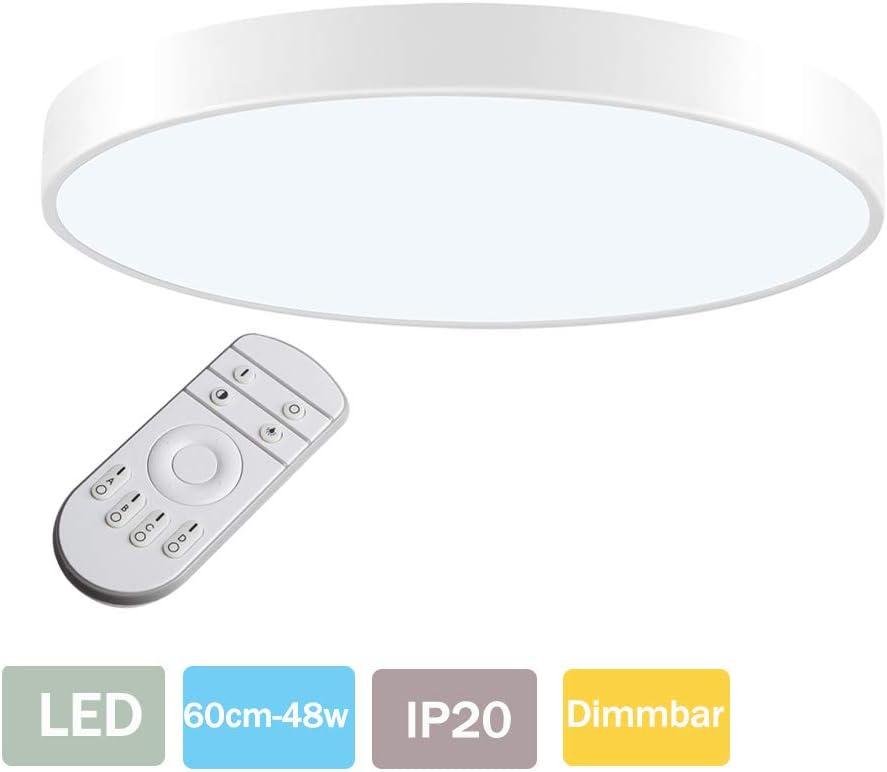 LED Lámpara de Techo 48W Plafón Led de Techo 3840Lúmenes Regulable 3000-6000K Φ60cm Redonda Moderna Cocina Balcón Pasillo Baño Iluminación Interior