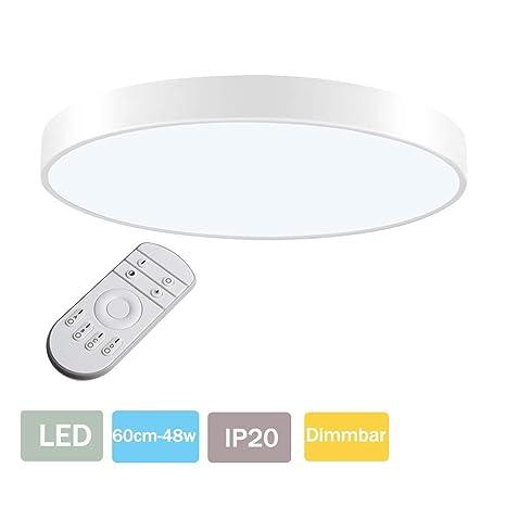 LED Lámpara de Techo 48W Plafón Led de Techo 2880Lúmenes Regulable 3000-6000K Φ60cm Redonda Moderna Cocina Balcón Pasillo Baño Iluminación Interior