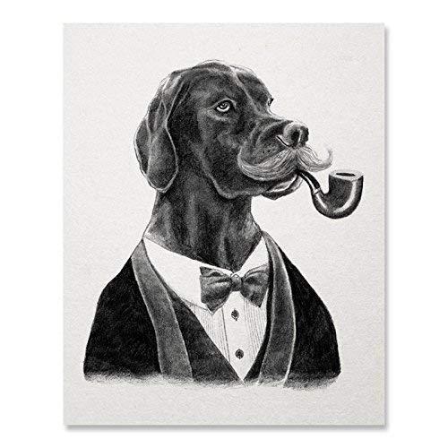 Dog Art Print Dapper Black Lab Wall Art Whimsical Gift for Dog Lover Animals Wearing Clothing Funny Dog Portrait Home Decor 8 x 10 Art Print