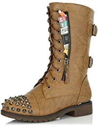 Womens Military Lace Up Buckle Combat Boots Mid Knee High Exclusive Credit Card Pocket Front Studded