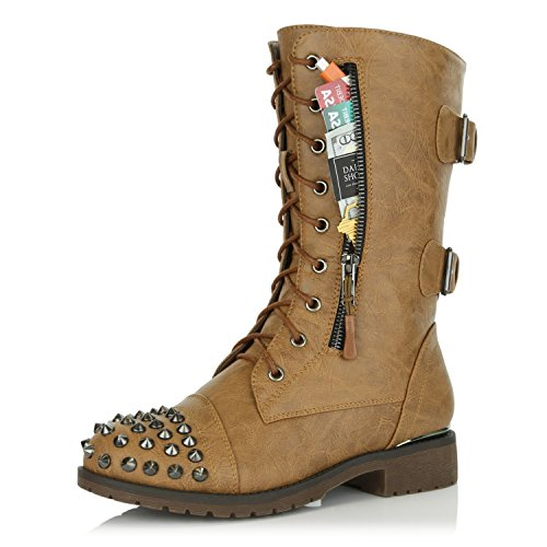 DailyShoes Women's Military Lace up Buckle Combat Boots Mid Knee High Exclusive Credit Card Pocket Front Studded Booties Tan Pu