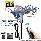 pingbingding Outdoor TV Antenna Digital Antenna 150 Mile Motorized 360 Degree Rotation Support 2 TVs - Mounting Pole & 40FT RG6 Coax Cable - Wireless Remote Control - UHF/VHF - Snap-On Installation
