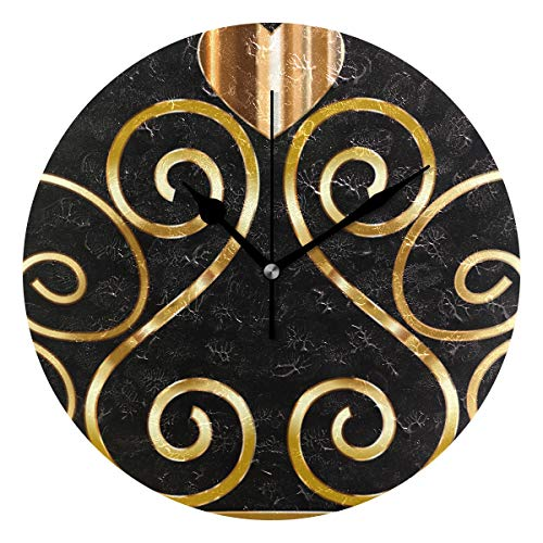 Price comparison product image HangWang Wall Clock Princess Gold Crown Silent Non Ticking Decorative Round Digital Clocks Indoor Outdoor Kitchen Bedroom Living Room
