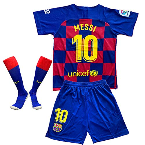 Tbcnjersey 10 Messi Shirt for Kids/Youth Barcelona Home Soccer T Shirt with Shorts and Socks 3PCS Red/Blue, 5-6 Years