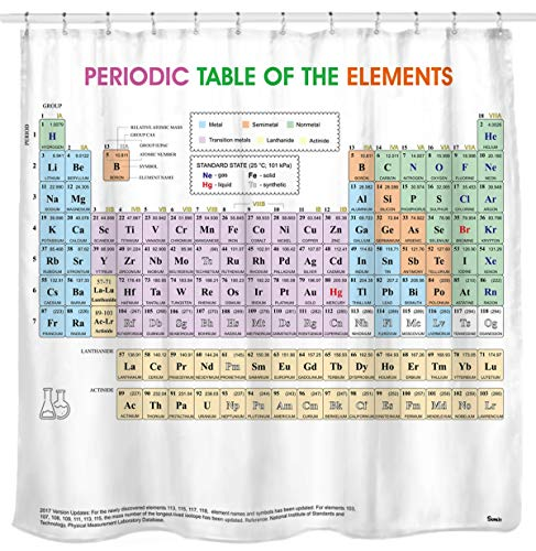 Science Element Chart - Updated Periodic Table of Elements Shower Curtain. PVC Free, Odorless Non-Toxic Fabric.