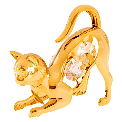 (Crouching Cat 24k Gold Plated Metal Figurine with Spectra Crystals by Swarovski)