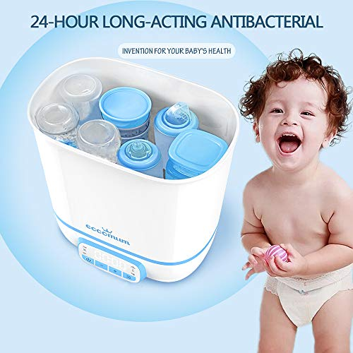 51O2Cs3KyNL - Eccomum Baby Bottle 𝘚𝘵𝘦𝘳𝘪𝘭𝘪𝘻𝘦𝘳 And Dryer, LED Touch Screen, 360° Steam 𝐃𝐢𝐬𝐢𝐧𝐟𝐞𝐜𝐭𝐢𝐨𝐧 & Drying, Super Large Capacity, HEPA Filter, Homemade Dried Fruit