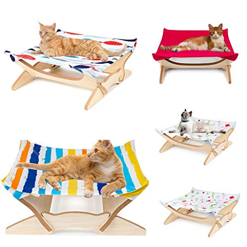 - Jiayit Exquisite Cat Hammock/Cat Owner New Sunbathing Toy, Wooden Hanging Cat Bed and Mat, Puppy can Also Be Used, in Front of The Window or Outdoors Safe and Comfortable (Multicolor) (Multicolor A)