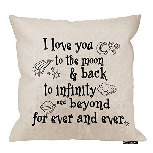 HGOD DESIGNS I Love You Theme Quote I Love You to The Moon and Back Star Moon Earth Cloud Spacecraft White Background Soft Pillow Cases Cover 18X18 Pillowcase