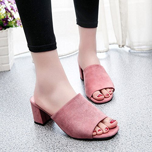 Pink Chunky Slide Suede Trendy Heel Jiyaru Open Shoes On Toe Women Slip Sandals F7qpIUg
