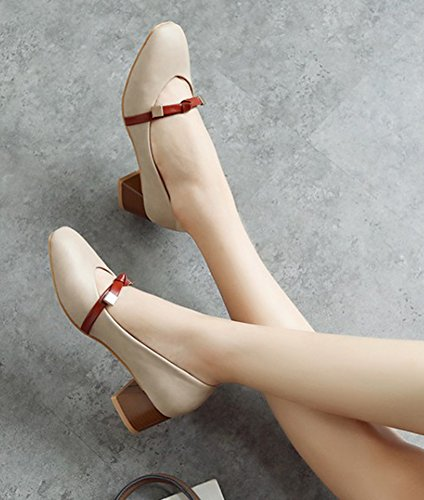 Aisun Da Donna Casual A Taglio Basso A Punta Quadrata Strappy Mid Block Tacco Dressy Slip On Pumps Shoes Con Fiocco Beige