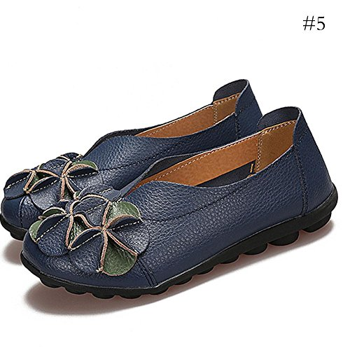 Shoes Moccasins Women Lightweight Breathable Flats Casual Shoes Leather Blue Size Gracefulvara Large wEqOfRO