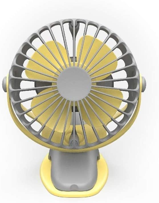 Color : Yellow XIANGNAIZUI Portable Cooling Mini USB Fan 4 Speeds 360 Degree All-Round Rotation Rechargeable Air Fan USB Charging Desktop Clip Fan 4000mAh